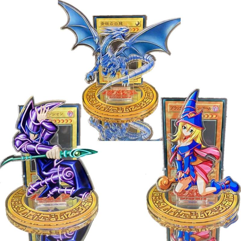Yu-Gi-Oh Three Magic Gods Blue Eyes White Dragon Acrylic Decoration Game Collection Card Animation Peripheral Action Figure Toy