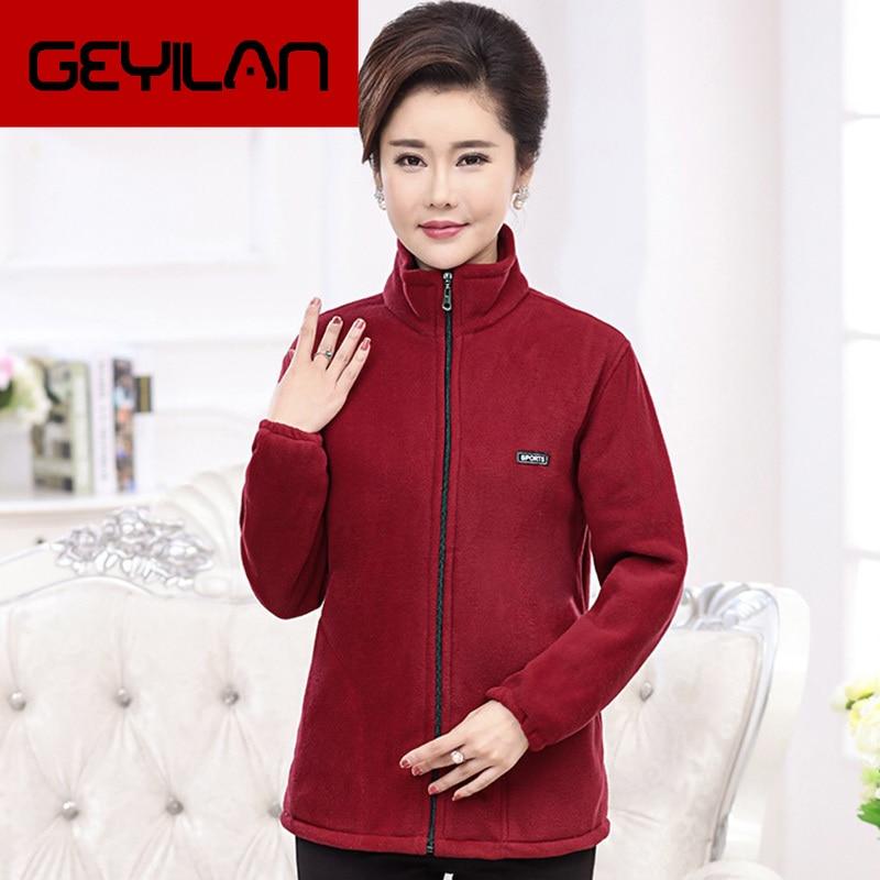 2019 New Autumn Mid-aged Women Fleece Jackets Plus Size 5XL Casual Warm Jacket Zipper Outerwear for