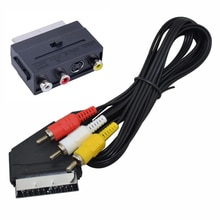 Gran oferta 1,5 m SCART a 3 RCA/Phono compuesto de Audio Video AV TV/DVD hombre Cable de interruptor