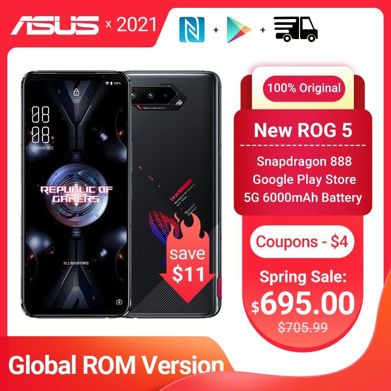 "Original Asus ROG 5 5G Gaming Phone 6.78"" 144Hz Rate Reflash Snapdragon 888 6000mAh Fast charging 65W 64MP ROG5 Mobile Phone NFC"