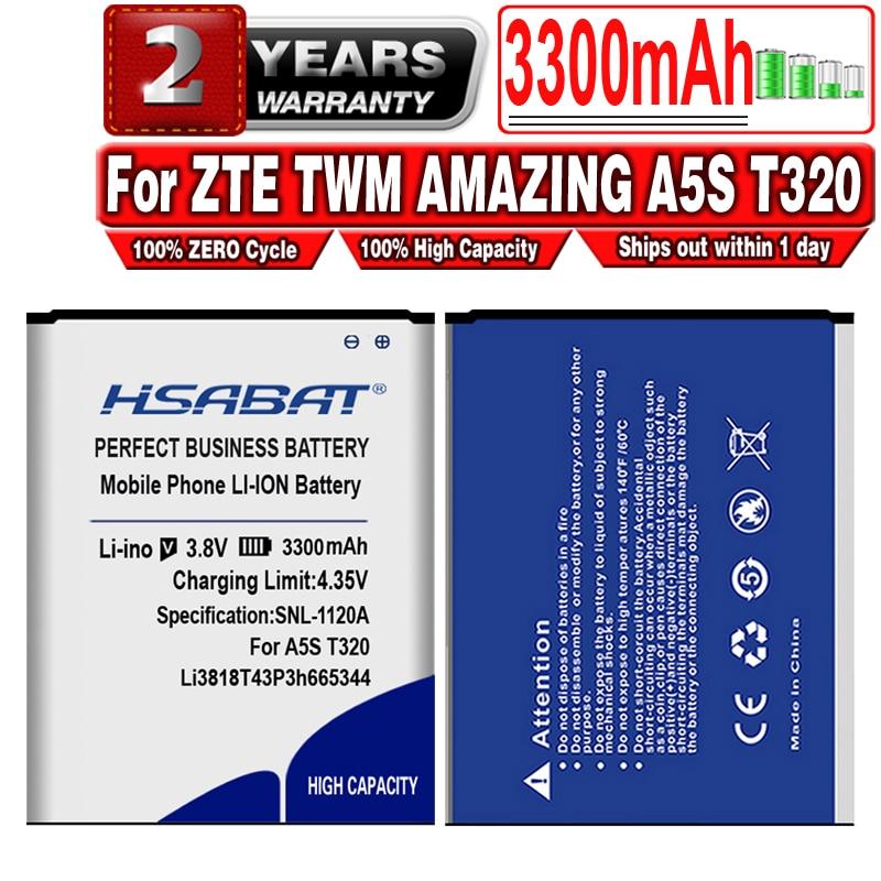 HSABAT 3300mAh para ZTE TWM increíble A5S Blade GF3 T320 batería Li3818T43P3h665344 batería