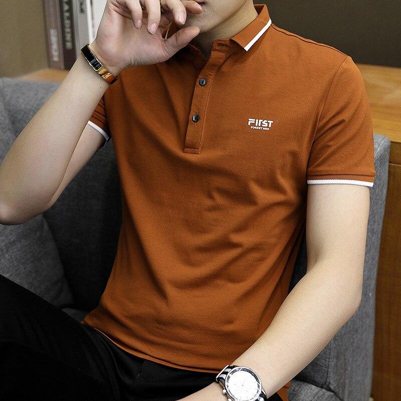 Summer New Short-Sleeved T-shirt Men's Cotton Men's White T Fashion Brand Half Sleeve Polo Shirt Menswear Undershirt T-shirt