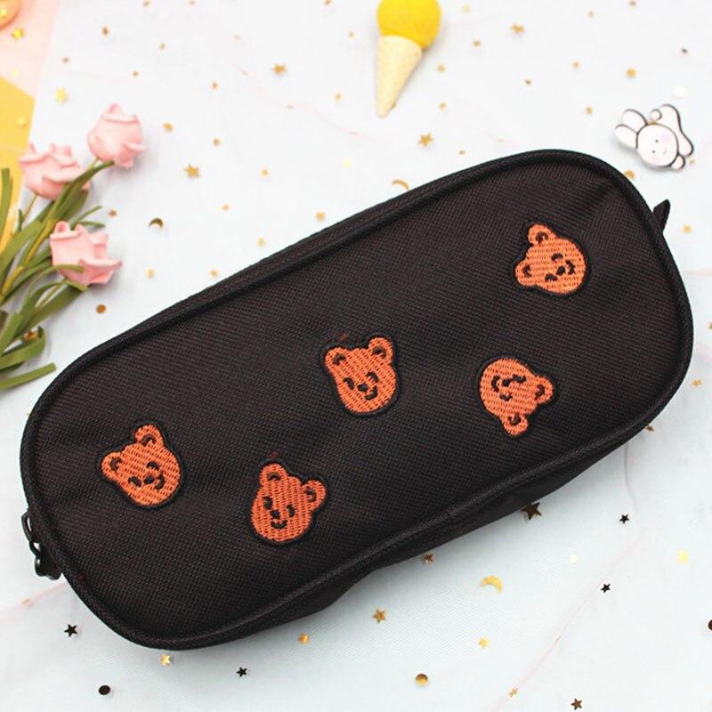 Kawaii Bear Large Capacity Pencil Case Cartoon Embroidery and Big Zipper Pen Bags Canvas Material Pe