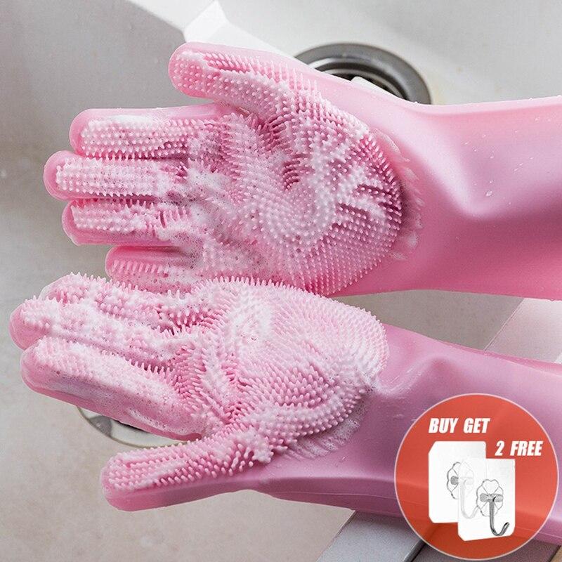 2 pçs multifunções silicone luvas de limpeza magia silicone prato luvas de lavagem para cozinha doméstica silicone luvas de lavagem de louça