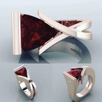 new hot sale geometric irregular gold plated ring for women fashion red stone inlaid ring wedding jewelry accessories