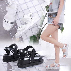 2021 Summer New Sandals Korean Version of The Slope with Thick Bottom Flat Mid-heel Non-slip Ladies Sandals and Slippers Tide