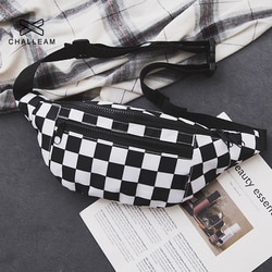 Mulheres xadrez cintura saco feminino tendência lona sacos de peito mulher preto branco ccheckerboard fanny pacote xadrez cintura packs g155