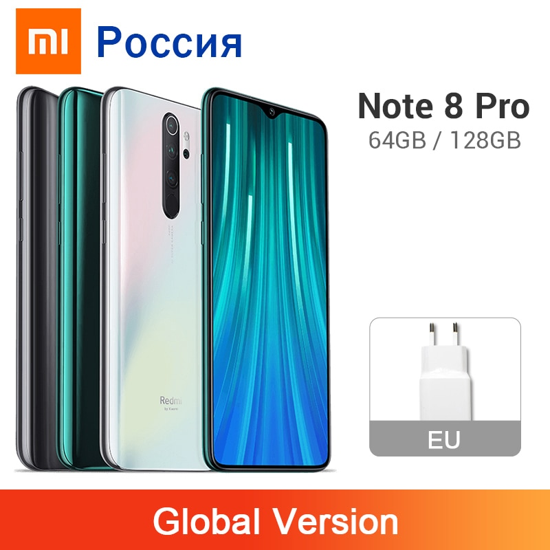 Versão global xiaomi redmi nota 8 pro 6 gb 64 gb/128 gb 64mp quad câmera traseira smartphone nfc 4500 mah helio g90t telefone móvel