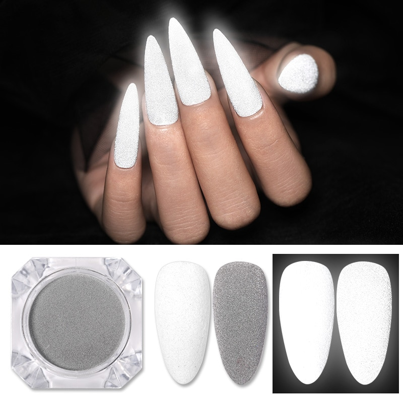 1 Box Reflective Nail Glitter Powder Shiny Dust Glow In The Dark For Bar Disco Sparkling Pigment Flu
