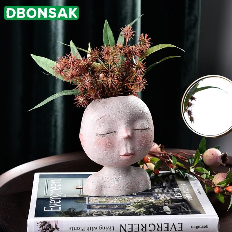 Скандинавская ваза для головы, цветочный горшок, форма куклы, скульптура, смола, портрет, цветочный горшок, художественная ваза, домашний декор, суккуленты, форма головы, ваза