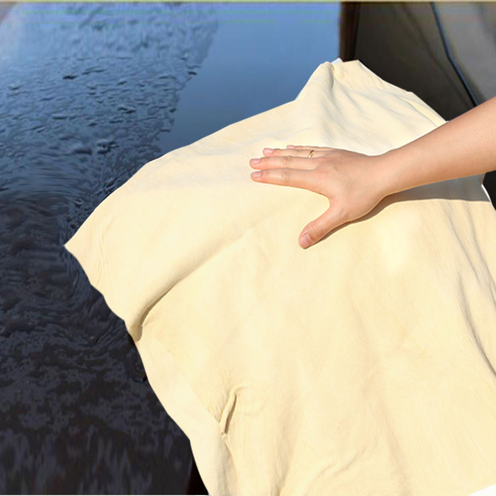 Купить с кэшбэком 1Pcs Car Care Extra Large Auto Car Motorcycle Natural Drying Chamois 40 X 70 cm Approx Free Shape Cleaning Genuine Leather Cloth