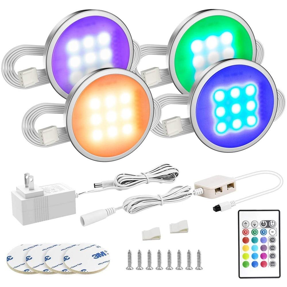 LED إضاءة الخزانة RGB مصباح اللون تغيير مصابيح بك ث/التحكم عن بعد عكس الضوء تحت الرف طاولة مطبخ الأثاث الإضاءة