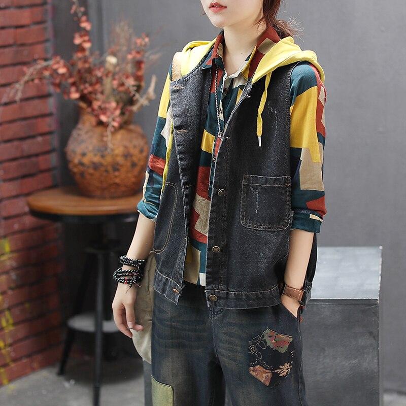 Mujer primavera y otoño moda marca Corea estilo Vintage Patchwork Denim chaleco con capucha mujer Casual chaleco sin mangas