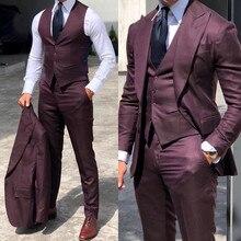 Стильные свадебные смокинги, костюмы для жениха, для мужчин, 3 предмета, Женихи, мужской костюм, вечерние деловые костюмы (пиджак + жилет + брюки)