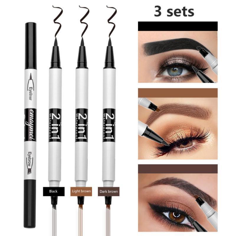 Women Makeup Eyebrow Pencil Waterproof Brown Eye Brow Tattoo Dye Tint Pen Liner for Eyebrows Long La