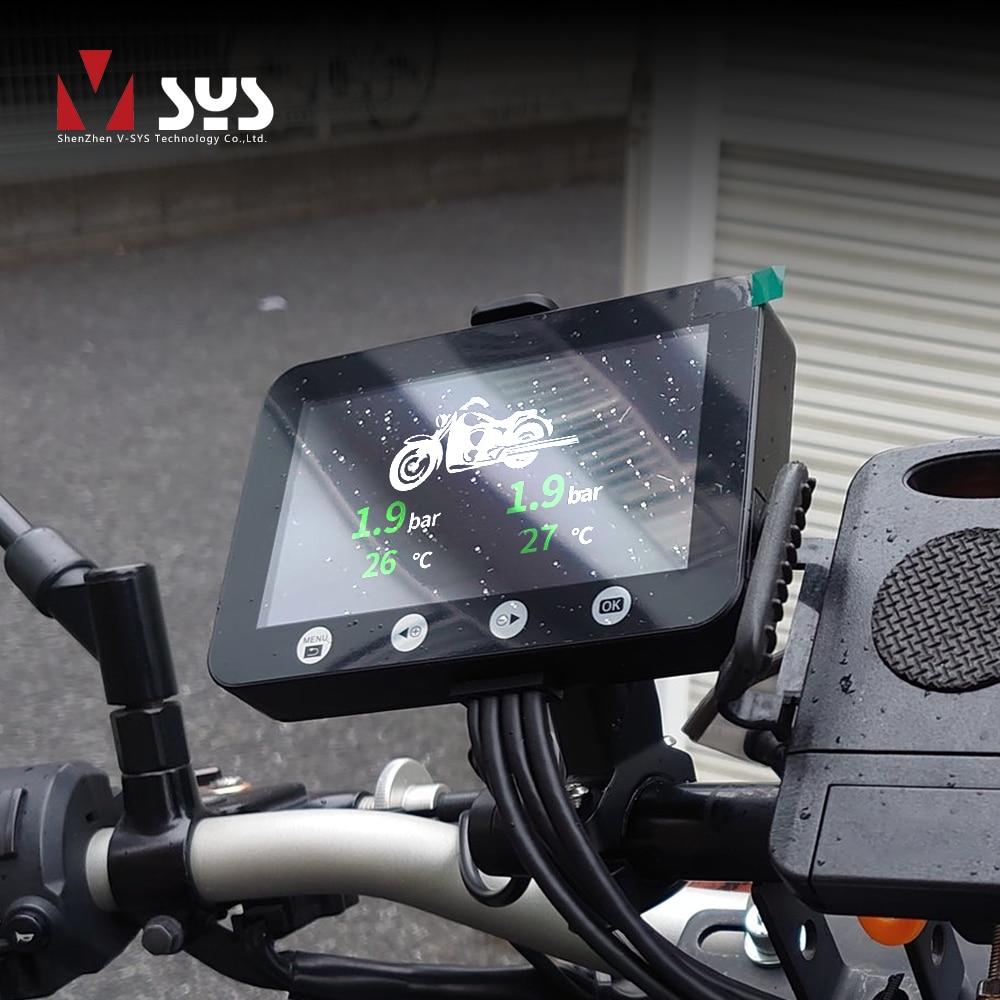 مسجل كاميرا VSYS F4.5 4.5 بوصة LCD للدراجات النارية مسجل مع TPMS مقياس ذكي ثنائي 1080P SONY IMX307 Starvis واي فاي مقاوم للماء