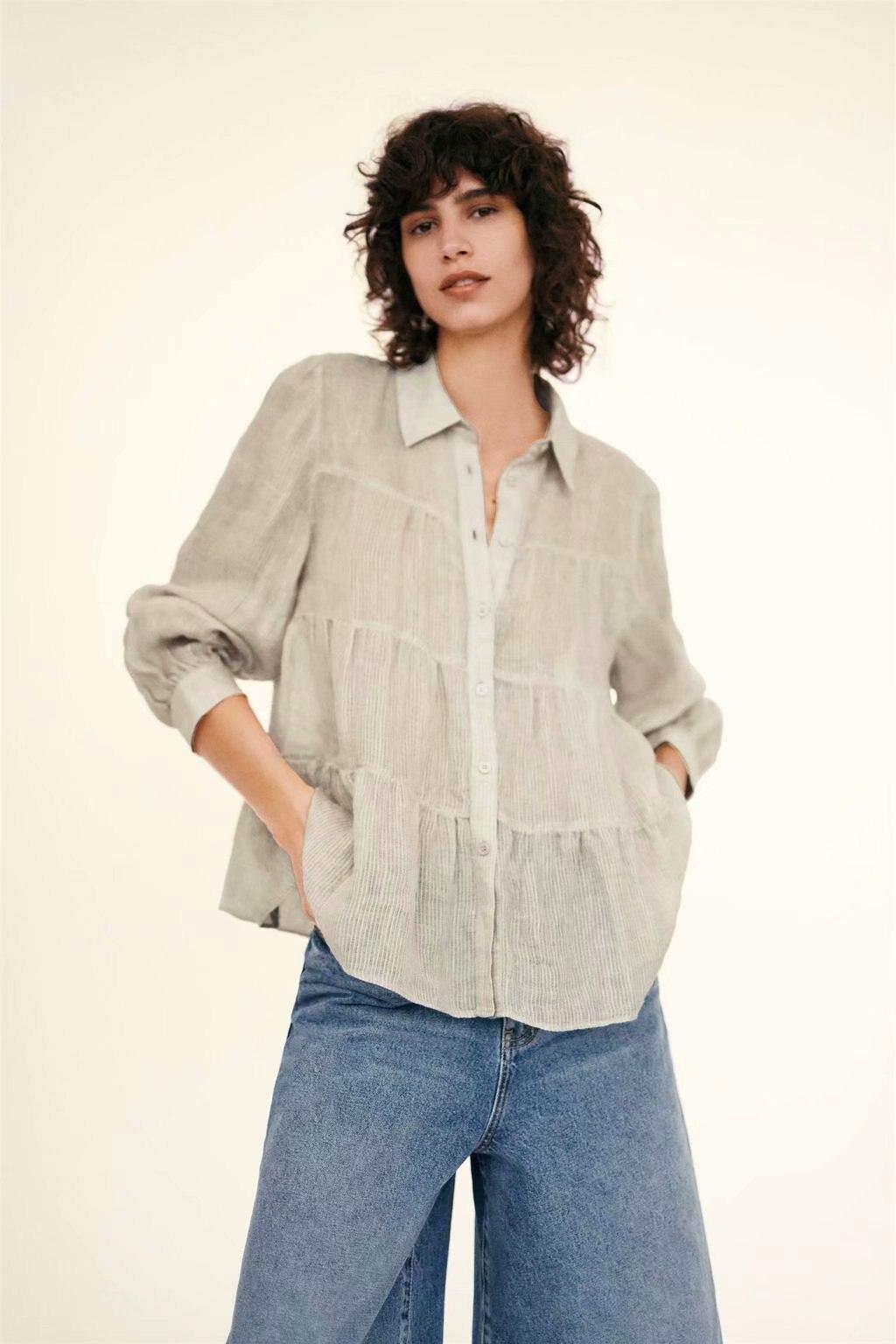 NOVEDAD DE VERANO 2020 camisa de lino laminado con solapa zaraing para mujer 2020 sheining vadiming tops vintage de talla grande ropa gótica C2165