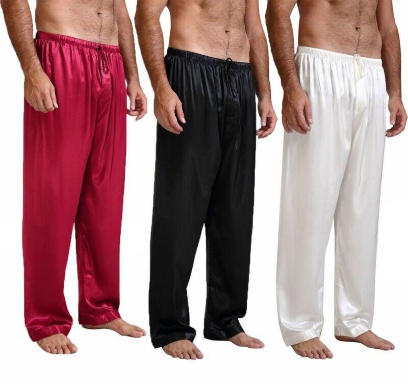 Мужские Свободные Сна Низ Пижамы Пижамы Ванна Пижамы Атлас Шелк Длинные Lounge Брюки Пижамы НОВИНКА