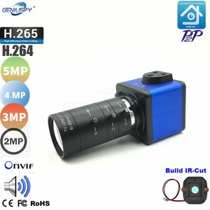 Geniuspy 5MP 4MP 3MP 2MP Onvif 6-60mm Manual Zoom Lens Indoor Audio Microphone Box Bullet Came H.265  Low Storage Webcam Xmeye