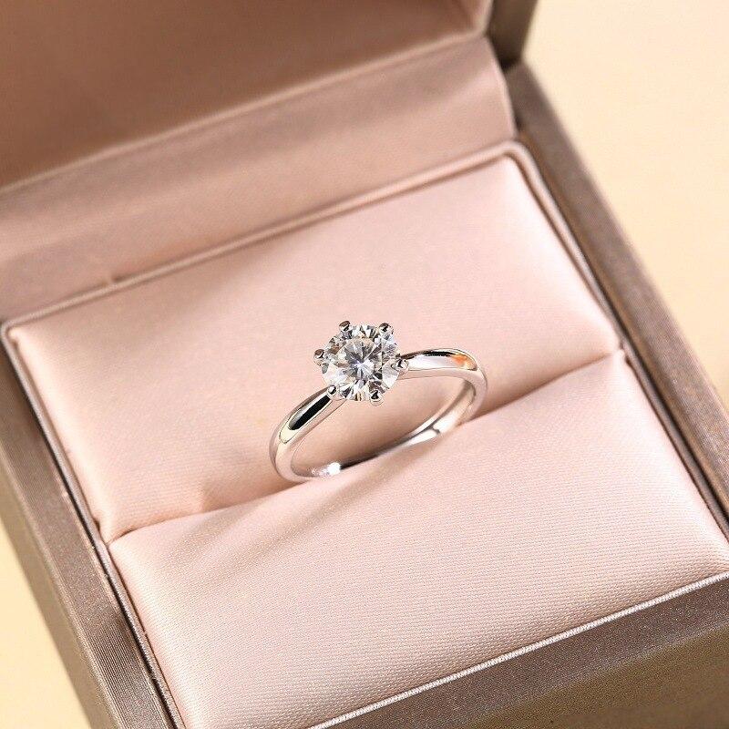 خاتم أبيض من الفضة الإسترليني S925 مويسانيتي 1Ct 2Ct 3Ct 5Ct بتصميم كلاسيكي قابل للتعديل خاتم مفتوح للنساء مجوهرات حفلات الزفاف