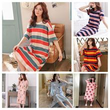 Short Sleeve Women Sleepwear Imitation Sleepwear Summer Nightgowns Dress Cartoon Lounge Sleeping Hom