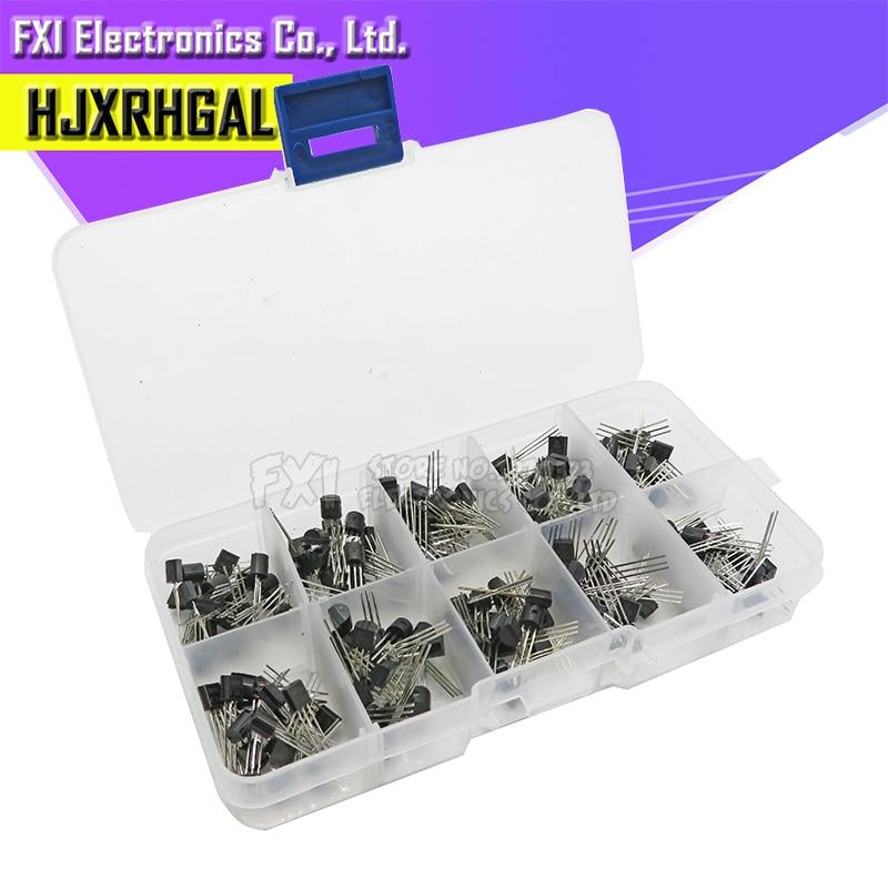 10value 200PCS BC337 BC327 2N2222 2N2907 2N3904 2N3906 S8050 S8550 A1015 C1815 Transistor Assortment Kit Transistors Box Pack