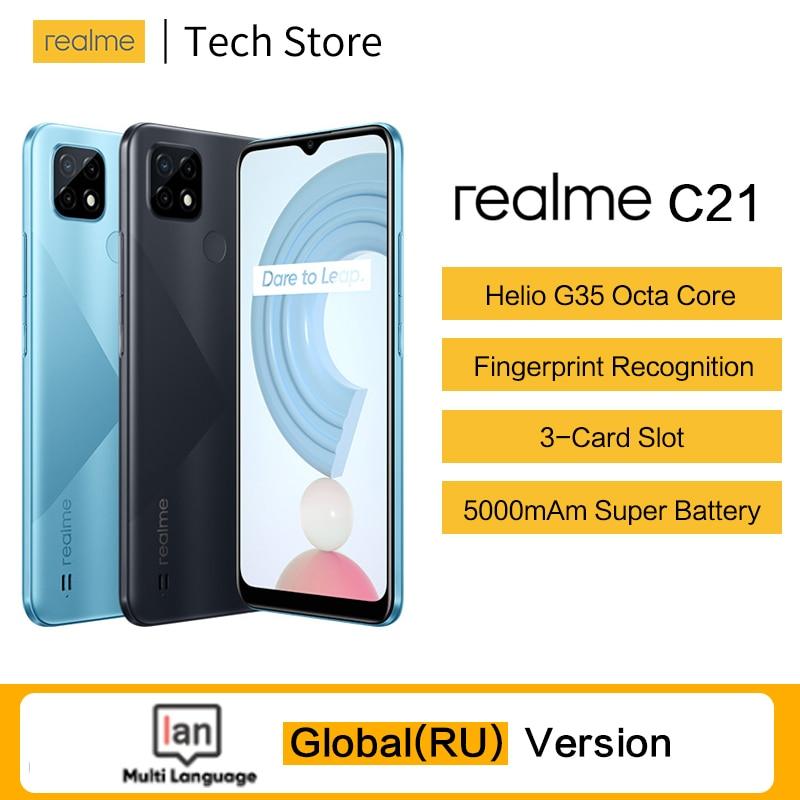 Перейти на Алиэкспресс и купить Оригинальная глобальная версия realme C21 мобильный телефон на процессоре Helio G35 Octa Core 64 Гб 6,5 дюймдисплей 5000 мАч батарея 3-слот для карт памяти для см...