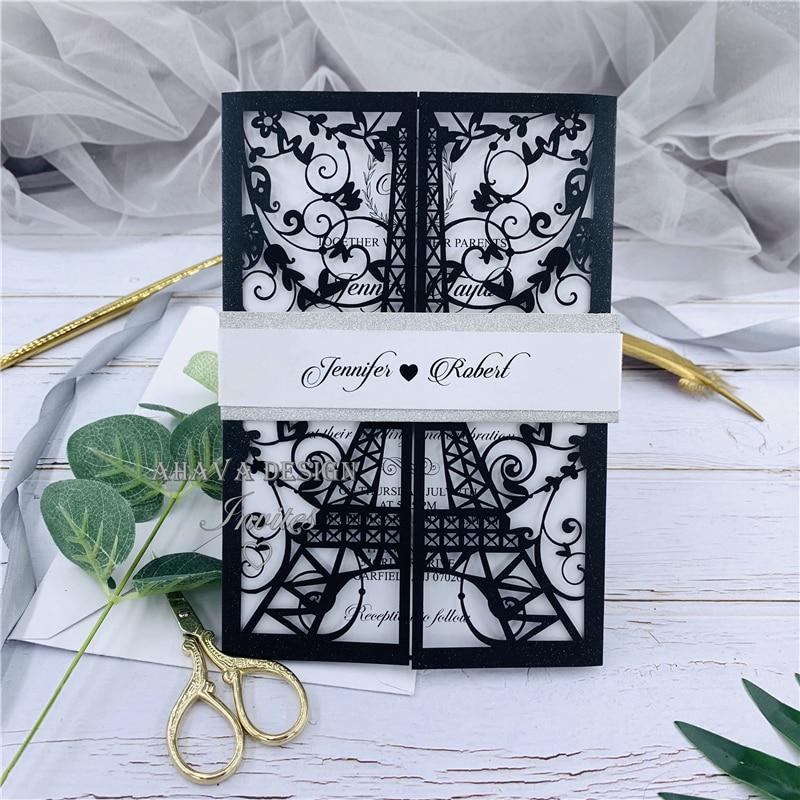 Negro Torre París corte láser invitaciones de boda Quinceañera invitaciones corte láser dulce 15 invitaciones tema francés tarjeta