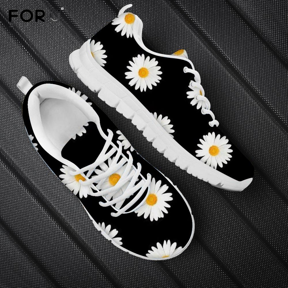 FORUDESIGNS Beauty Daisy White Floral Printing Women Flat Shoes Brand Design Female+Sneakers Casual Spring Mesh Ladies Footwear