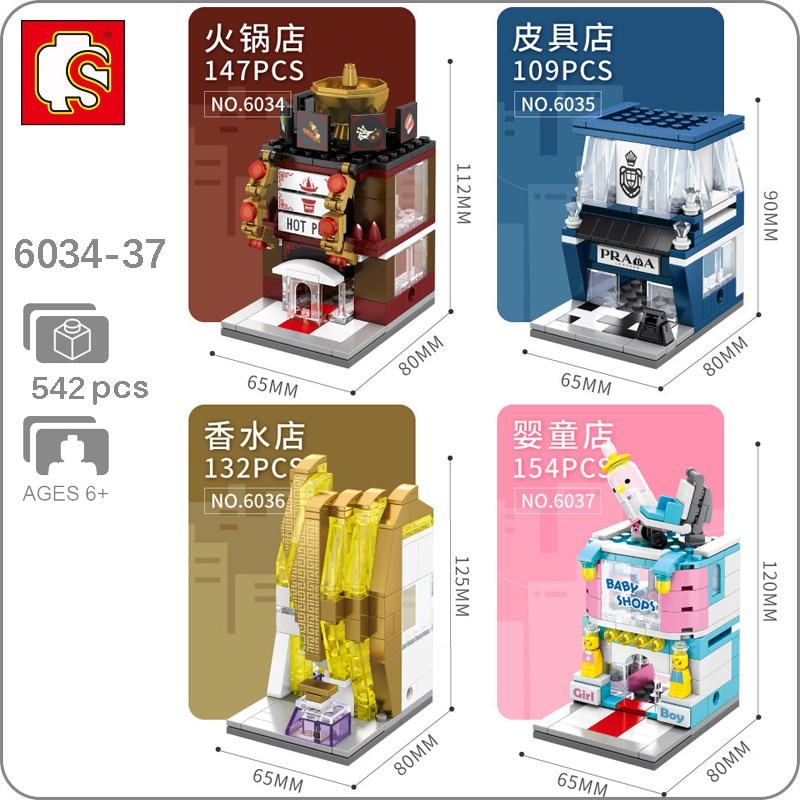 Sembo City Street Hot Pot Restaurant Perfume Baby Shop Store Model DIY Blocks Bricks Building Toy 4Pcs Present Gift no Box