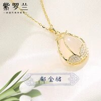 violet original tulip necklace for women clavicle chain pendant chalcedony pendant sterling silver ins indifference trend intern