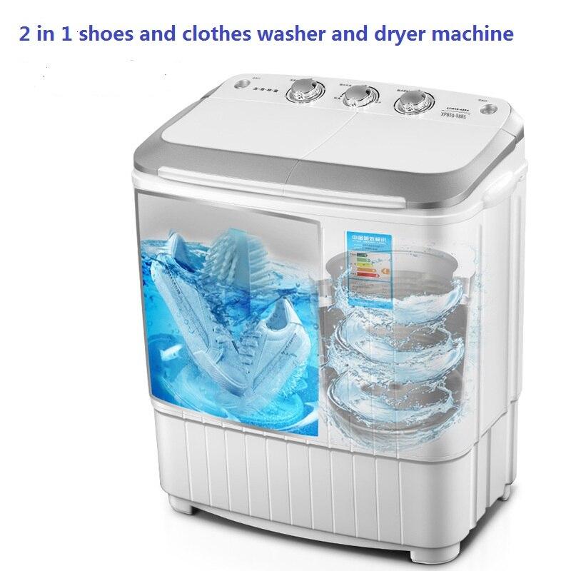 Lavadora y secadora de zapatos y ropa, doble barril 2 en 1 de 5kgs, cepillo para zapatos y mini máquina de lavandería, Luz Azul UV