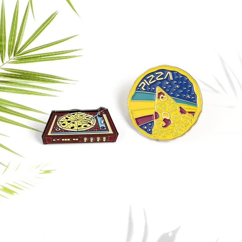 XEDZ Pizza Enamel Pin Red Bean Gramophone Desert Rainbow Starlight Pizza popular Jewelry Badge Punk Shirt Button Brooch  - buy with discount
