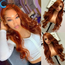 Ginger Color 13X4 Lace Front Human Hair Wigs For Women Peruvian Remy Hair Body Wave 4x4 Closure Lace
