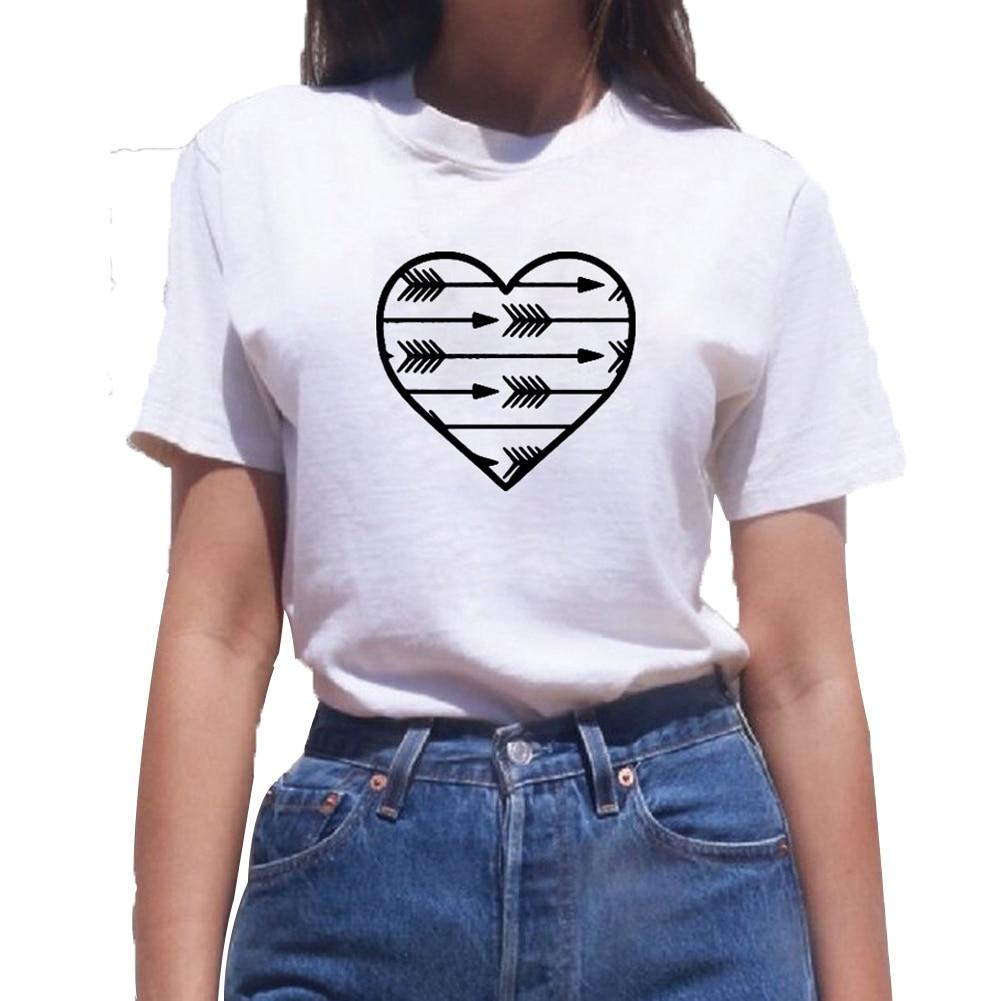 Camiseta de algodón de manga corta con diseño de flecha y corazón para mujer, camiseta suelta blanca y negra para mujer, Top Dropshipping