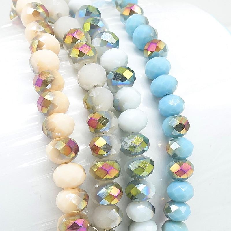 TTBEADS brillante 80 Uds Rondelle cuentas de cristal facetadas para hacer joyas...