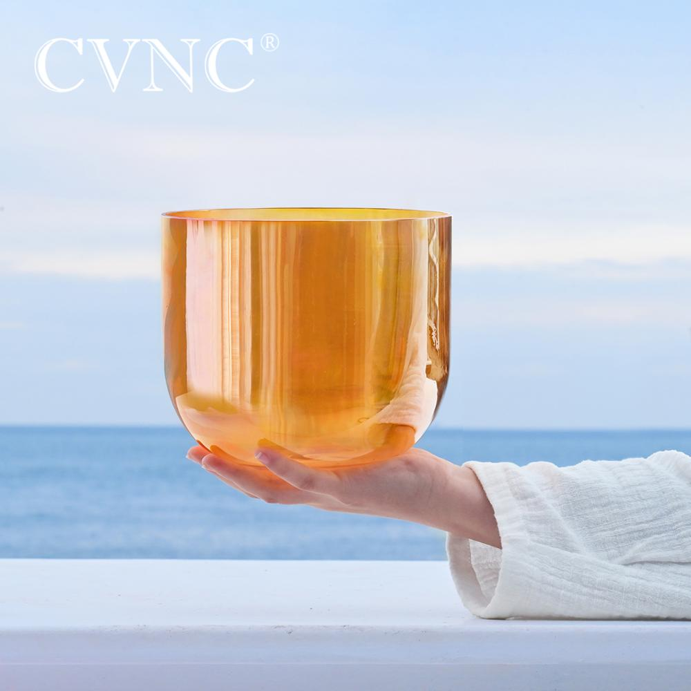 CVNC 6 Inch Clear Orange Cosmic Light Quartz Crystal Singing Bowl with Free Suede Mallet and O-ring for Sound Healing Yoga enlarge