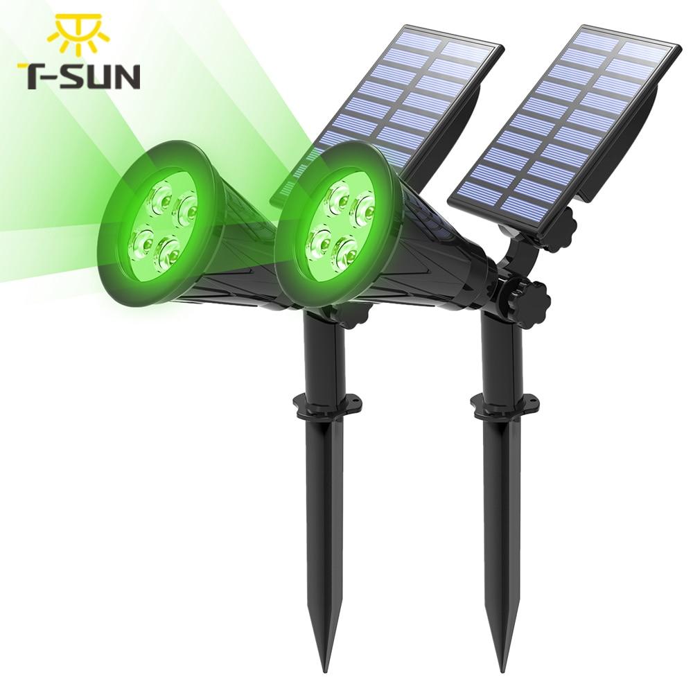 T-SUN 1/2/4 حزم الأخضر Led أضواء الشمسية الأضواء الشمسية مقاوم للماء الشمسية الجدار ضوء الشمسية مصباح حديقة مصباح للطاقة الشمسية في الهواء الطلق