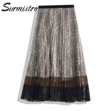 Surmiitro Vintage dentelle creux jupe longue femmes 2020 printemps été dame coréenne taille haute soleil école plissée Maxi jupe femme