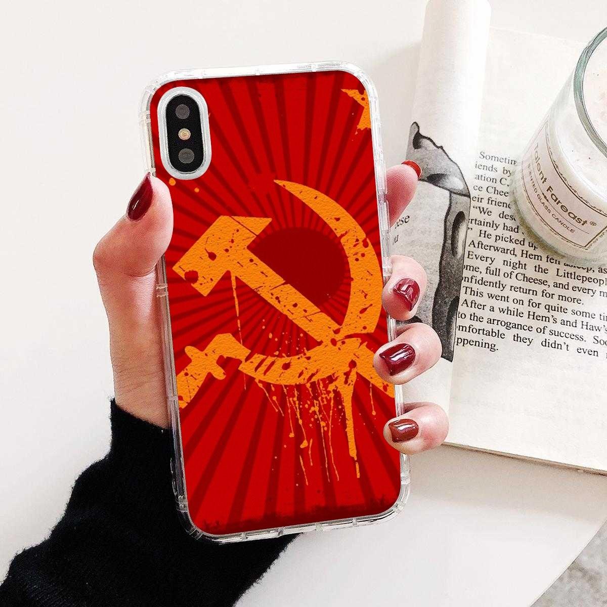 Para Samsung Galaxy nota 2 3 4 5 8 9 S2 S3 S4 S5 Mini S6 S7 borde S8 S9 Plus cubierta suave Unión Soviética URSS Grunge de bandera