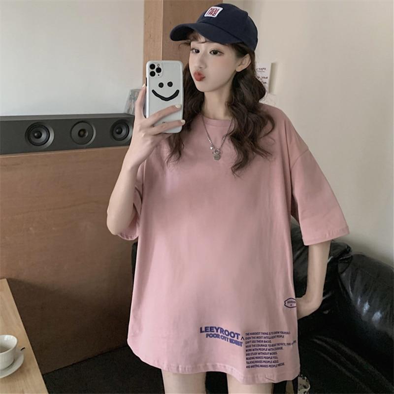 Hong Kong Style Fried Street Cotton Short-Sleeved T-shirt Women's Summer 2021 Loose Korean Style Ins