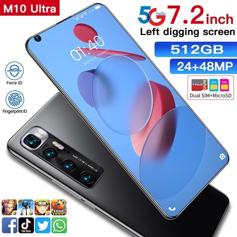 M10 الترا هاتف محمول 6.8 بوصة 12gb Ram 256gb Andriod Rom العالمي ثماني المزدوج سيم + مايكرو Sd 5g مع الهواتف الذكية لتحديد المواقع