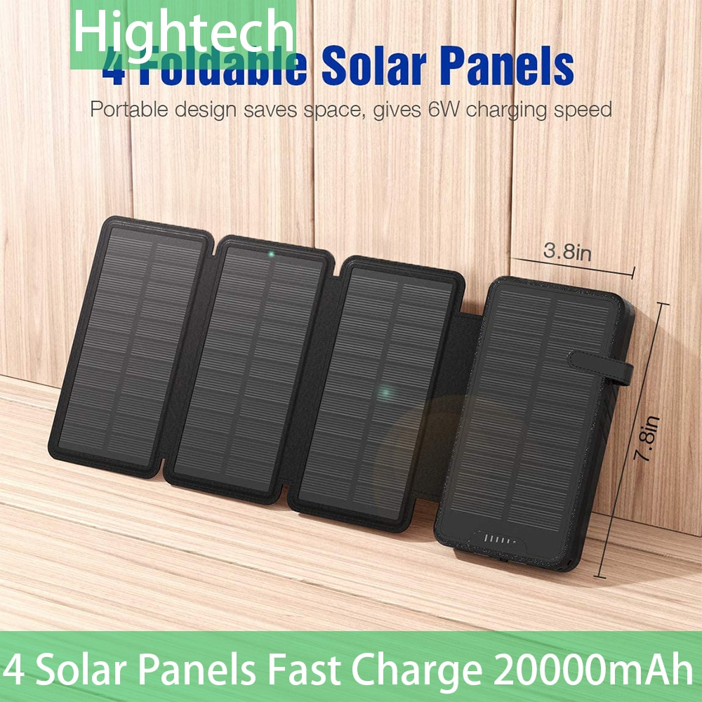 Solar Charger 20000mAh Power Bank 4 High-Efficiency Foldable Panels And LED Flashlight Hiking Camping For Phone And Pad