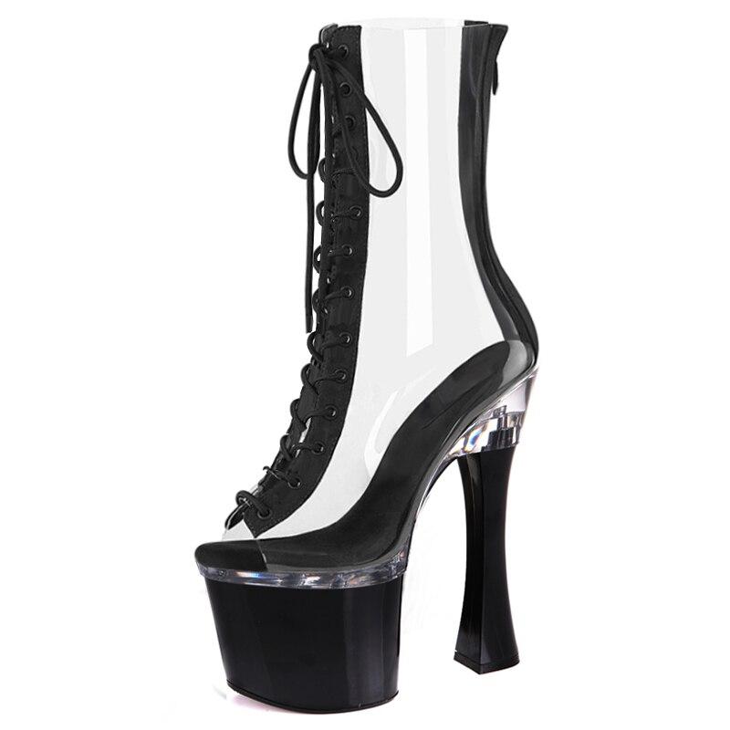 Женские ботинки с открытым носком, на платформе 20 см