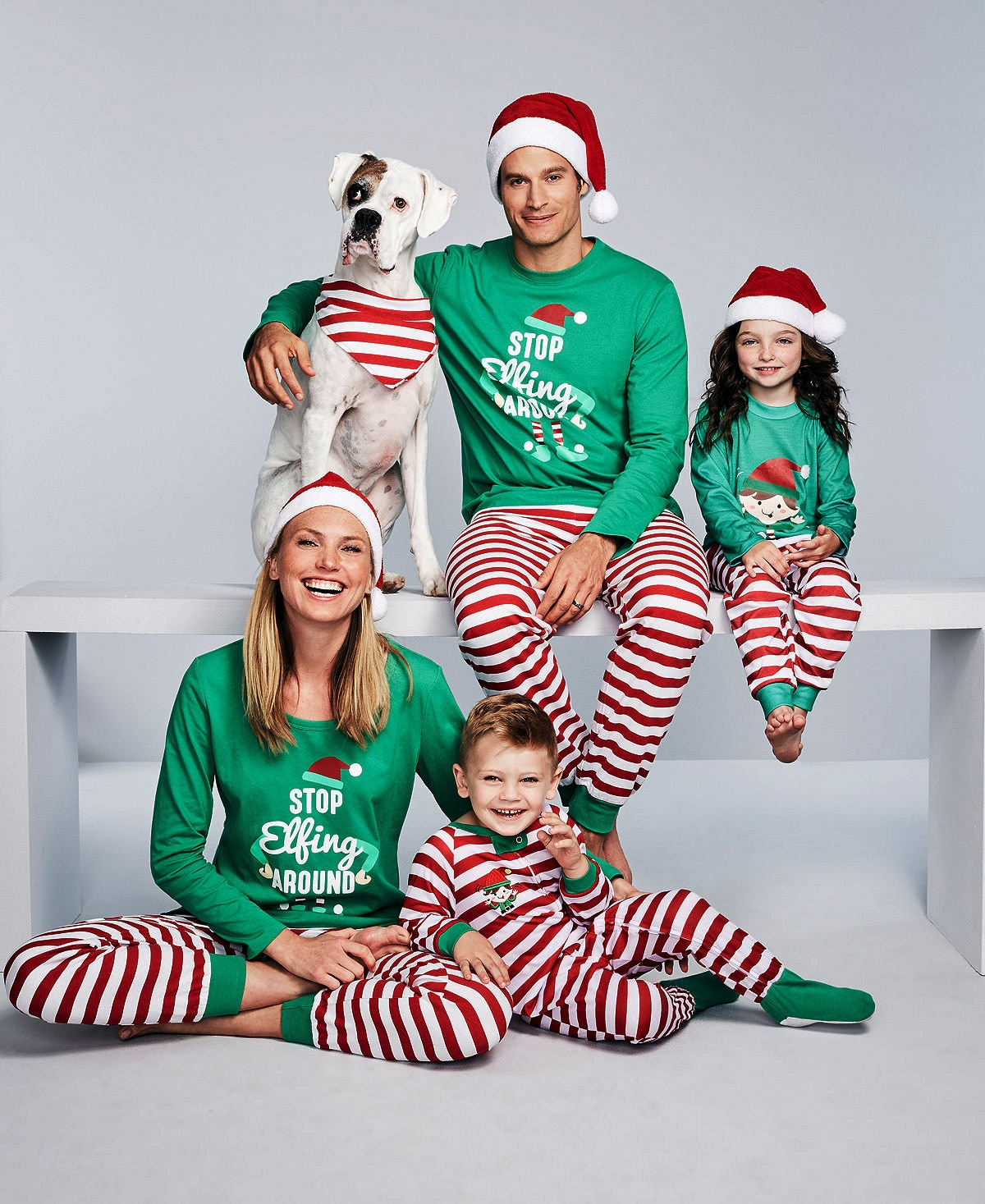 2020 New Year Home Clothing Christmas Parent-Child Pajamas Set Green Striped Girls' Pajamas Boys New Year Gifts enlarge