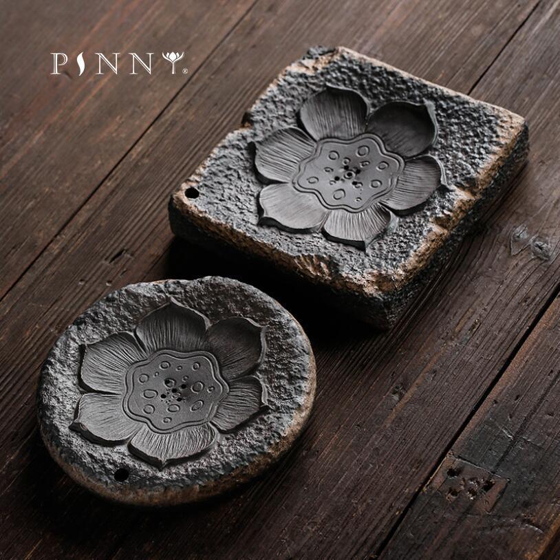 PINNY-وعاء شاي سيراميك بتصميم زهرة اللوتس ، وعاء تخزين للمياه المصبوغة