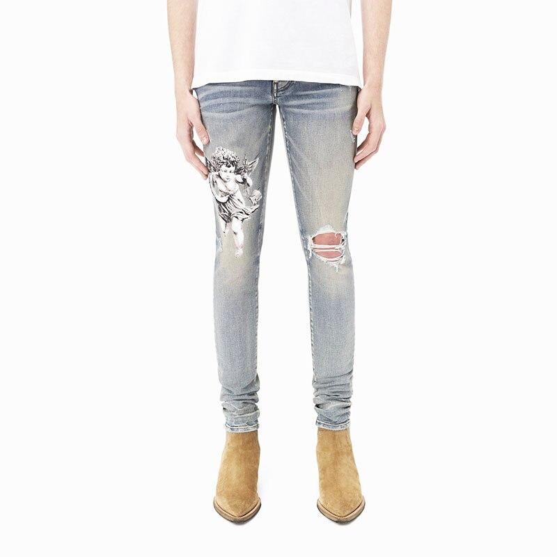 Модные мужские джинсы в американском уличном стиле ретро светло-голубые эластичные облегающие рваные джинсы мужские дизайнерские брюки из...