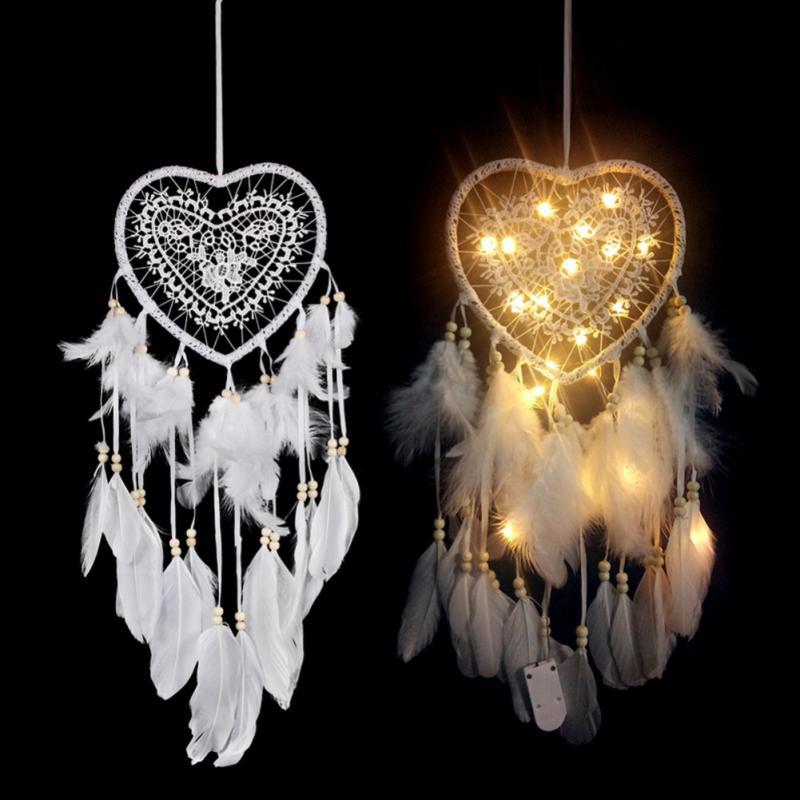 Atrapasueños hecho a mano LED noche colgante de luz atrapasueños de plumas hogar Corazón de decoración pluma Festival decoración romántica pared sueño