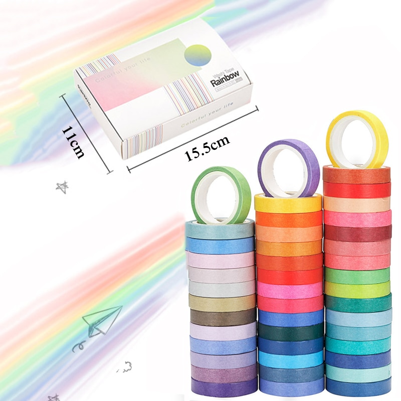 60 Pcs/Set Basic Solid Color Tape Rainbow Masking Tape Decorative Tape Sticker Scrapbook Diary Stationery School Office Supply