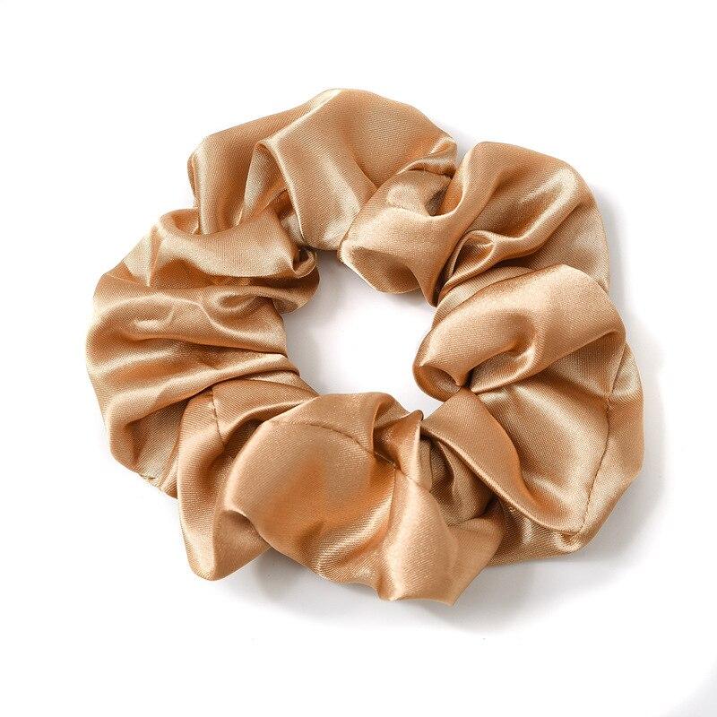 1pc satin sutera warna solid scrunchies tali rambut elastik, aksesori - Aksesori pakaian - Foto 6